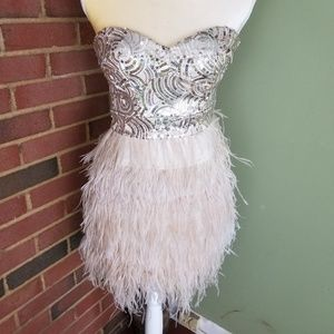 bebe Prom Dress full of Glitter  and Feathers